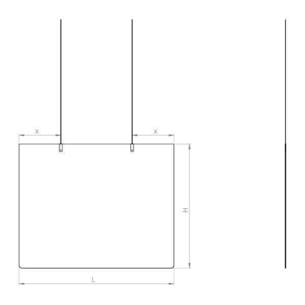 Schémas - séparateur de bureaux en plexiglass.