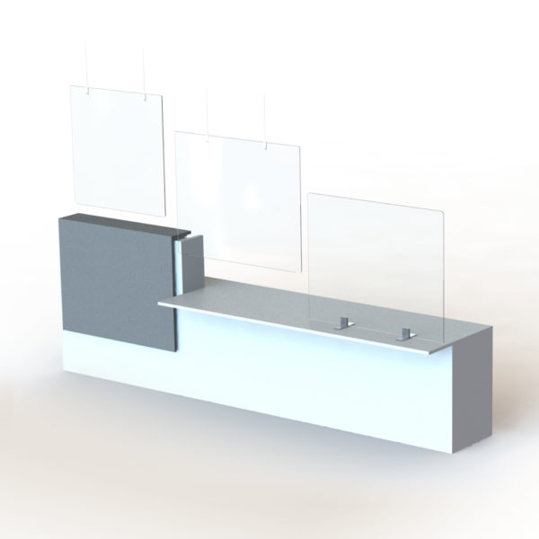 Banque d'accueil avec plexiglass en suspension et sur piétement
