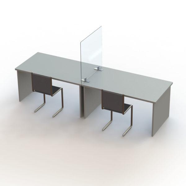 Mise en situation d'un séparateur de bureaux en plexiglass sur piétement en aluminium, 80 x 80 cm